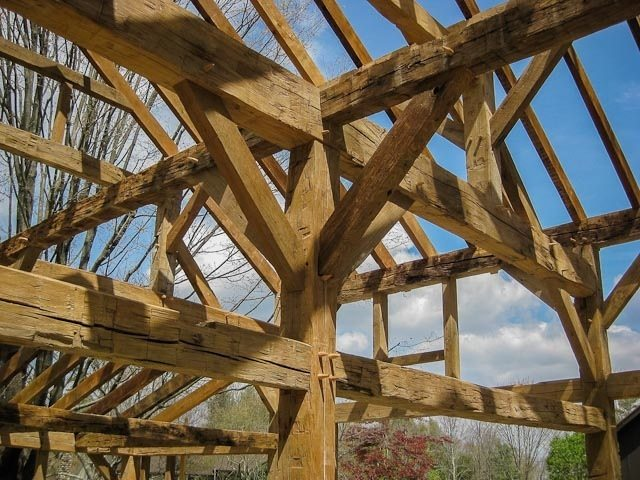 Antique Hand Hewn Beams with Natural Patina Rough Sawn Oak Rafters