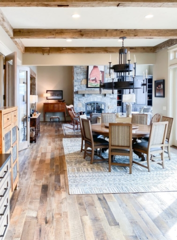Antique Reclaimed Hand Hewn Beams + Reclaimed Oak Flooring