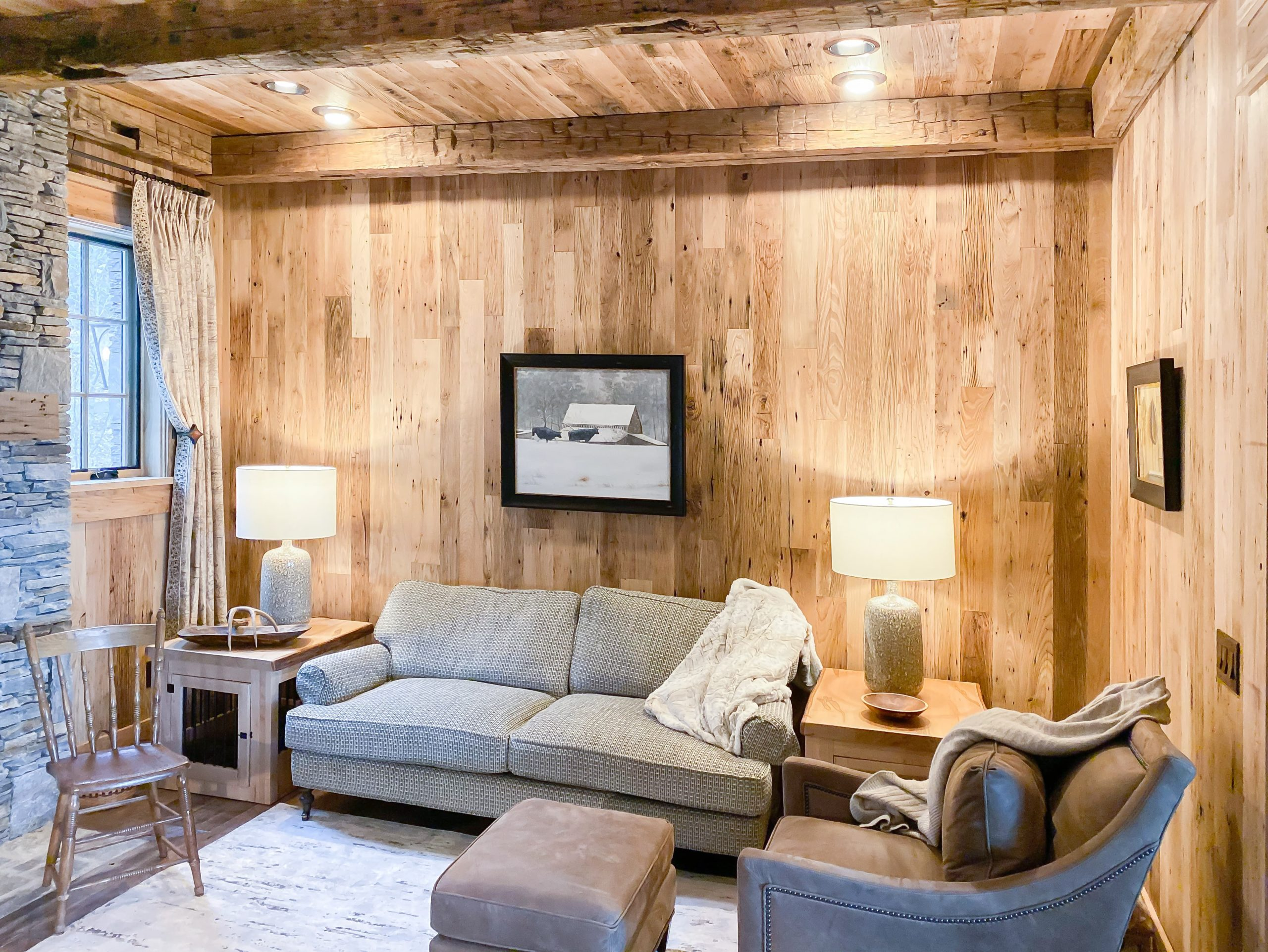 Wormy Chestnut Wall & Ceiling Planking + Hand Hewn Beams